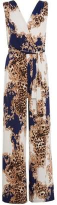 Dorothy Perkins Womens *Quiz Cream and Navy Leopard Print Jumpsuit