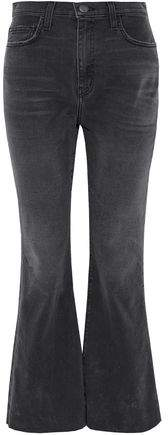Distressed High-Rise Flared Jeans