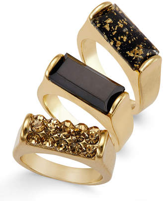 Thalia Sodi Gold-Tone Jet Speckled Ring Set