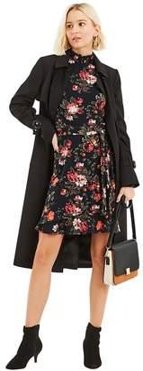 Oasis - Multi Blue Winter Rose Sheered Dress