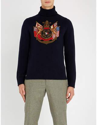 Ralph Lauren Purple Label Embroidered-logo cashmere turtleneck jumper