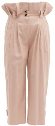 Dolce & Gabbana Paperbag Waist Cotton Blend Trousers - Womens - Pink