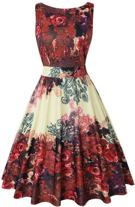 OWIN Women's 1950s Vintage Floral Swing Party Cocktail Dress with Butterfly Pattern (M, )