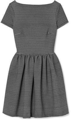 Miu Miu Striped Ribbed Stretch-jersey Mini Dress - Black