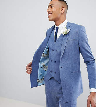 Blue Cross ASOS DESIGN Tall Wedding Skinny Suit Jacket In Provence Hatch With Printed Lining