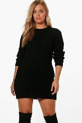 boohoo NEW Womens Plus Cable Knitted Jumper Dress in Acrylic