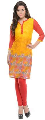 Maple Clothing India Long Tunic Top Georgette Kurti Womens Printed Indian Apparel (, S)