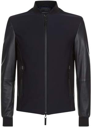 Giorgio Armani Honeycomb Panelled Leather Jacket