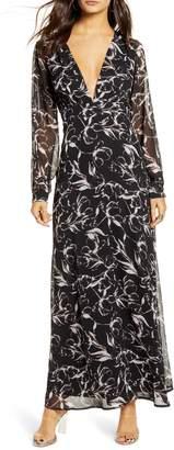 Leith Deep V-Neck Long Sleeve Maxi Dress