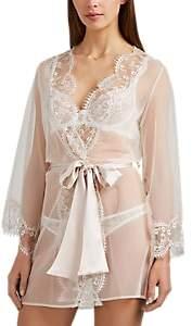 Deshabille GILDA & PEARL Women's Lace-Trimmed Tulle Robe - Beige, Tan