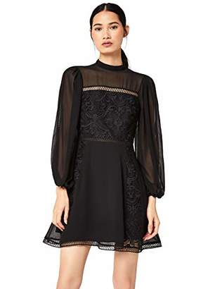 TRUTH & FABLE Lace Volume Sleeve Skater Party Dress, Black, (Size: X-Large)