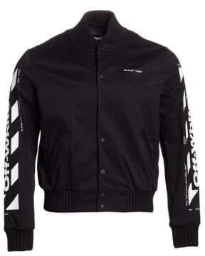 Off-White Diagonal Stripe Skinny Varsity Bomber Jacket