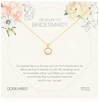 Dogeared Will You Be My Bridesmaid Flower Card Large Bezel Pearl Pendant Chain Neckalce