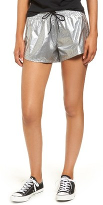Women's Converse Perforated Metallic Shorts $55 thestylecure.com