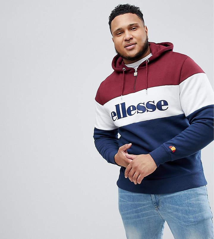Ellesse Plus 1/4 Zip Hoodie With Large Logo In Red