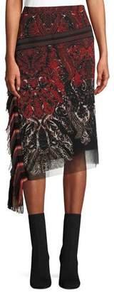 Fuzzi Feather-Print Asymmetric Skirt w/ Fringe