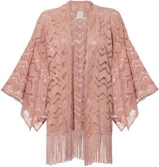 Anna Sui Pink Leaf Lace Fringed Kimono