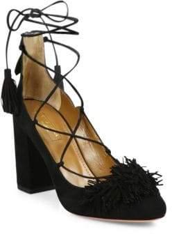Aquazzura Wild Fringed Suede Lace-Up Block-Heel Pumps