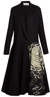 Valentino Women's Chain Rose-Print Wool & Cashmere Drop-Waist Coat
