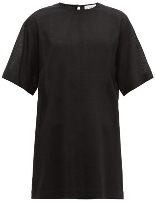 Raey Long Line Crosshatch Silk Blend Top - Womens - Black