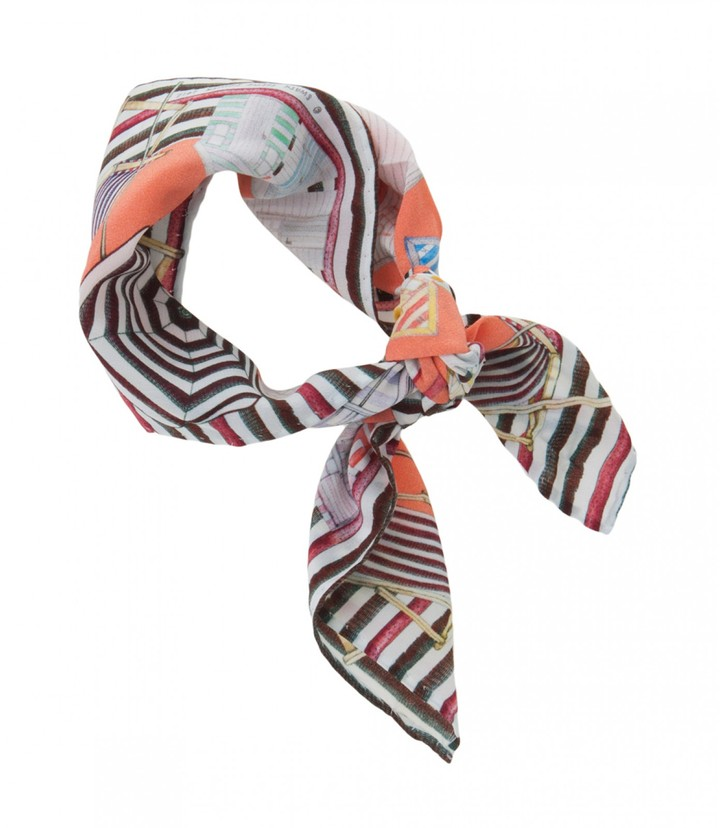 Swash Small Silk Scarf In Coral