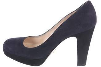 Prada Suede Square-Toe Pumps