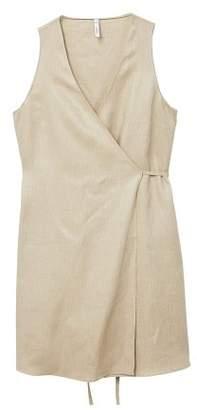 MANGO Linen wrap dress