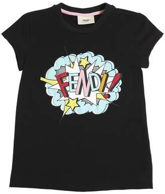 Fendi Rubberized Print Cotton Jersey T-Shirt