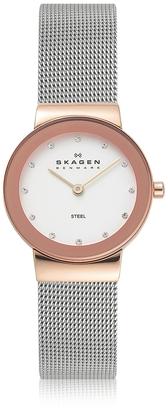 Skagen Freja Two Tone Stainless Steel Mesh Bracelet Women's Watch $128 thestylecure.com