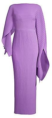 SOLACE London Women's Adami Pleated Asymmetric Sleeve Gown