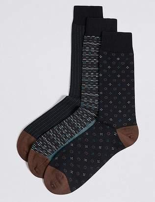 Marks and Spencer 3 Pack Cotton Rich Dash Design Socks
