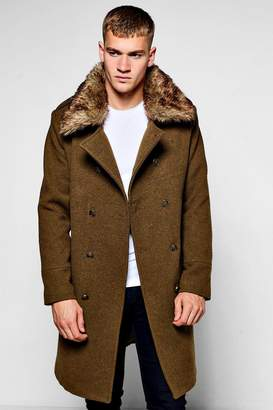 boohoo Military Overcoat with Detachable Faux Fur Collar