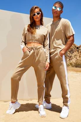 boohoo His Neck Embroidered T-Shirt & Side Panel Jogger