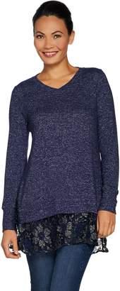 Melange Home Logo By Lori Goldstein LOGO by Lori Goldstein Brushed Sweater Top with Lace Hem