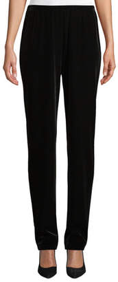 Caroline Rose Stretch Velvet Straight-Leg Pants