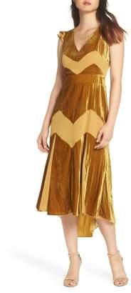 Harlyn Flutter Sleeve Velvet Midi Dress