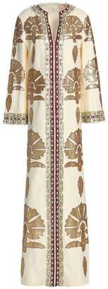 Tory Burch Leather-Appliquéd Embellished Linen Maxi Dress