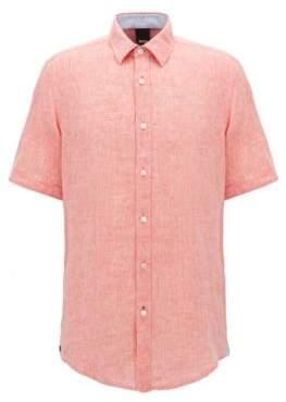 BOSS Hugo Linen Sport Shirt, Regular Fit Luka L Orange
