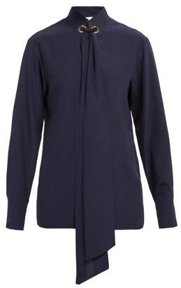 Chloé Ribbon Tie Silk Blouse - Womens - Navy