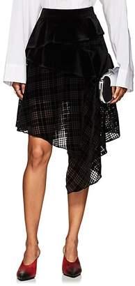 J KOO Women's Houndstooth-Flocked Chiffon Skirt - Black