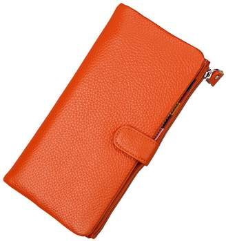 MuLier Leather Wallet Women Splicing Color Clutch Purse Long Designer Ladies Credit Card Holder Organizer with Snap Closure