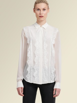 DKNY Lace-Front Button-Up Shirt
