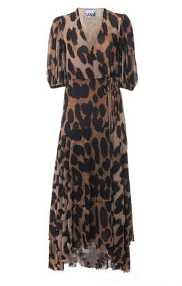 Ganni Printed Mesh Leopard Midi Dress Size: 32