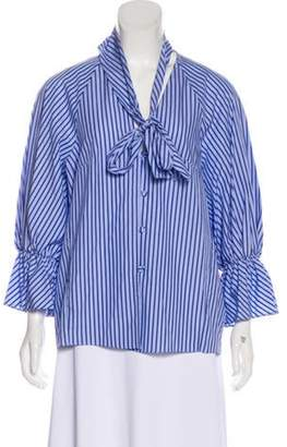 Petersyn Striped V-Neck Blouse w/ Tags Blue Striped V-Neck Blouse w/ Tags