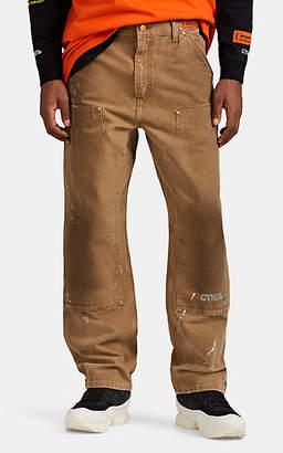 Heron Preston x Carhartt Work In Progress Men's Paint-Splattered Cotton Workwear Pants - Beige, Khaki