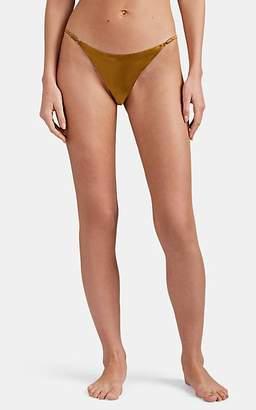 Fleur Du Mal Women's Luxe Cheeky Silk Satin Thong - Gold