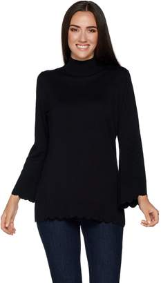 Isaac Mizrahi Live! Mock Neck Sweater with Scallop Bell Sleeves & Hem