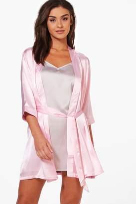 boohoo Charlotte Satin Kimono Robe