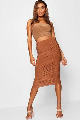 boohoo Soft Touch Slinky Rouched Midi Skirt