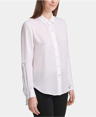 DKNY Button-Front Roll-Tab-Sleeve Top
